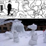 calvin and hobbes snow creation